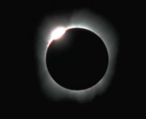 1991年日全食出现的钻石环